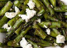 Grilled-Asparagus-with-Feta-Cheese.  Great summer side dish