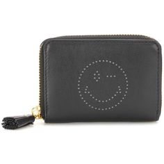Anya Hindmarch Smiley Small Zip-Around Leather Wallet ($320) ❤ liked on Polyvore featuring bags, wallets, black, wallets & cases, genuine leather wallet, real leather bags, leather wallets, 100 leather wallet and real leather wallets
