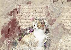 Cat, Animal, Pet, Flowers, Art
