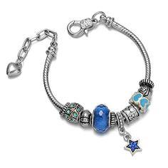 Onnea® Heart, Dainty Beaded Charms Blue Rhinestone Bracelets with Pentagram Pendent Onnea http://www.amazon.com/dp/B011WT8H3Y/ref=cm_sw_r_pi_dp_dRnbxb0TZCTC1