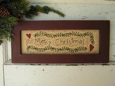 Framed Primitive Stitchery Merry Christmas CWWOFG- Holiday, Christmas Decor, Gift. $30.00, via Etsy.