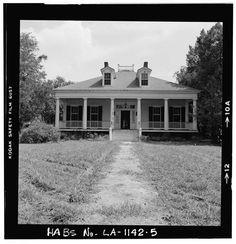 Bagatelle Plantation, 1841 -- East River Road (moved to Iberville Parish), Donaldsonville, Ascension Parish, LA