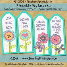 (8) Name: 'Paper Crafts : Printable Bookmarks-Teacher Appreciation