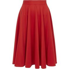 **Closet Curve Red Panel Midi Skirt ($69) ❤ liked on Polyvore featuring skirts, red, calf length skirts, high rise skirts, red skirt, high waisted knee length skirt and high waisted skirts
