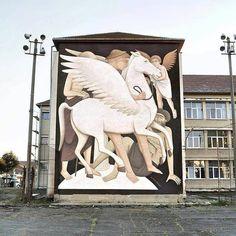 "Fikos, ""Bellerophon and Pegasus"" Sibiu, Romania - Street Wall Art, Best Street Art, Installation Street Art, Art Installations, Urbane Kunst, Art Articles, Art Festival, Festival 2016, Street Artists"