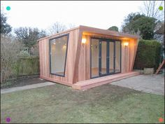 Garden room architecture Pinnacle Garden Room With Cedar Cladding, Graphite French Door Combi Angled Feature Window, From Inc. Backyard Office, Backyard House, Backyard Studio, Backyard Sheds, Garden Studio, Garden Office, Garden Design Plans, Shed Design, House Design