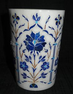 Indian Glass Cup Marble Glass Lapis Floral Pietra Dura Inlay Decor Art Gift Decor #Marble #Glass #Pietradura #Lapis #Drinkware #Floral #Arts #DecorativeGlass