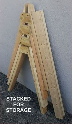 Woodworking Jigs Picture of Cheap, Improved Sawhorses - Almost everyone knows what sawhorses are and what they're for. They raise your work off the ground to make it easier to work on and keep your expensive tools out . Cool Woodworking Projects, Woodworking Guide, Popular Woodworking, Woodworking Furniture, Fine Woodworking, Diy Wood Projects, Wood Crafts, Woodworking Workshop, Woodworking Chisels