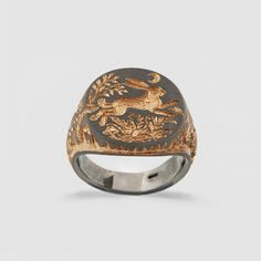 Castro Hare Trap Signet Ring (Silver/Rose Gold)