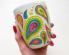 Hand painted Nice things for life de ANAartStudio Glass Painting Designs, Pottery Painting Designs, Dot Art Painting, Mandala Painting, Ceramic Painting, Painting Patterns, Mandala Drawing, Bottle Art, Bottle Crafts