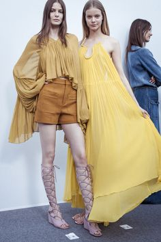 Flou dresses float like clouds behind the scenes of our Spring-Summer 2015 runway