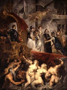 Peter Paul Rubens,  Arrival ofMarie de'Medici at  Marseilles, 1622–1625. Oil on canvas,  12111–2   9 7. Baroque. Louvre, Paris. Marie, the ruler, was glorified with allegories. She comes down from a ship after her trip to Italy. The soldier in front of her, who is welcoming her, is wearing a blue cloak with gold floral pattern. The pattern symbolizes French royalty. The naked people on the bottom and the upper part represent the sea and sky respectively rejoice at her…