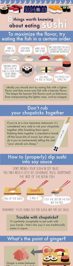 8 things worth knowing about eating Sushi... and now I want sushi, thanks Tacha!
