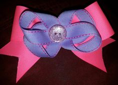 Neon pink and lavender hairbow