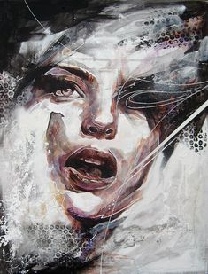 "Today we want to show you beautiful portrait paintings by UK based painter Danny O'Connor (aka DOC). ""Concentrating mainly on figurative and portrait subject matter, his influences include comic books,… Abstract Portrait Painting, Portrait Art, Portrait Paintings, Art Paintings, Painting Art, Portraits, Abstract Paintings, Muse Kunst, Inspiration Artistique"