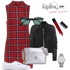 Metallic Style Inspiration by kiplingusa on Polyvore featuring Topshop, Rick Owens, Vans, Calvin Klein, Ray-Ban, Barry M, Kipling and PolyPower