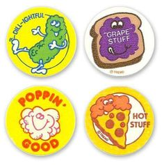 """Anyone remember these food scented """"smelly"""" stickers? Photo Credit: Born in the 70's raised in the 80's"""