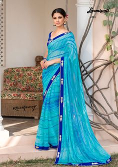 Mesmerize everyone with your wonderful look by draping this blue and blue satin silk blouse along with fancy lace border. Laxmipati Sarees, Lehenga Saree, Indian Sarees, Saris, Indian Dresses, Indian Outfits, Indian Clothes, Fancy Sarees, Party Wear Sarees