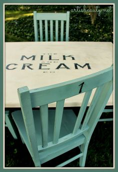 ART IS BEAUTY: Rescued Table and Chairs Turned Vintage Farmhouse Milk and Cream Table