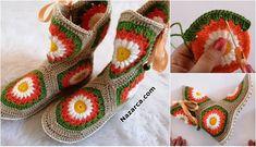 2 ŞİŞ İLE DİKİŞSİZ PATİK NASIL YAPILIR? DETAYLARI | Nazarca.com Knitted Slippers, Crochet Shoes, Crochet Fashion, Knitting Designs, Fingerless Gloves, Arm Warmers, Diy And Crafts, Baby Shoes, Pattern