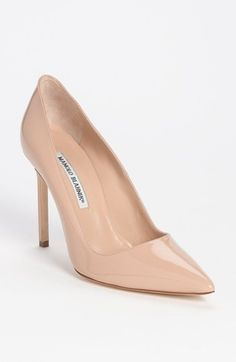Manolo Blahnik 'BB' Pointy Toe Pump in Nude | Nordstrom
