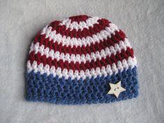 Stars and Stripes Beanie Hat for Newborn Boy or by NeedleKrazy, $18.00