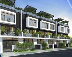NHA PHO - Tìm với Google Townhouse Designs, Duplex House Design, Condo Design, Apartment Design, Modern House Design, Style At Home, Townhouse Exterior, Small Villa, Villa Plan