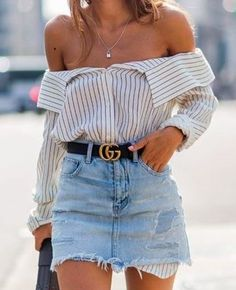 of the shoulder striped poplin shirt with a gucci belt and a vintage denim skirt