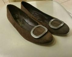 590c55f0a517 Daniel Footwear Womens Brown Suede Leather Flat Ballet Shoes Buckle Size 39  UK 6