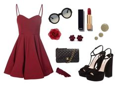 """""""Wild and red"""" by fashiongirlemily ❤ liked on Polyvore featuring Glamorous, Chanel, Miu Miu, Accessorize, Gucci, Lipstick Queen, Topshop, dress and redlips"""
