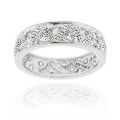 Icz Stonez Sterling Silver Pave-set CZ Eternity Band (Size 10), Women's, White
