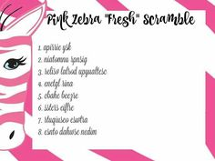 Pink Zebra Games unscramble fresh category