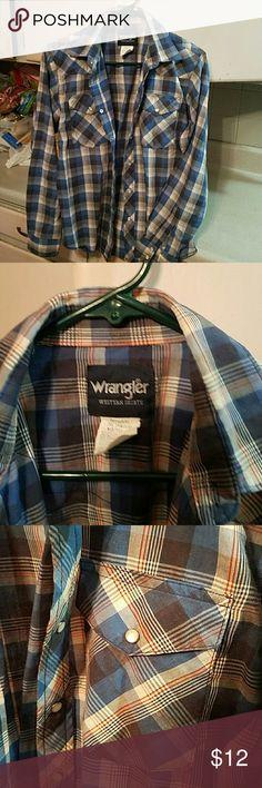 Final markdown  Boys western shirt Great condition. Snap down. Long sleeve. Wrangler Shirts & Tops Button Down Shirts
