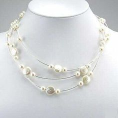 16 white coin pearl wire necklace