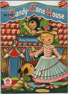 1955 Unused Candy Cane House Coloring Book..