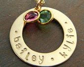 Gold Personalized Hand Stamped Family Washer Necklace, Birthstones 14K Gold-Filled Custom Charm Jewelry, HAILEY by E. Ria Designs
