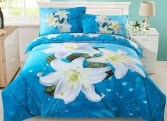 Dignified Lily Flower Print 4-Piece Cotton Duvet Cover Sets