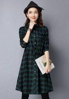Buy Plaid Button Up Drawstring Dress | mysallyfashion.com Malaysia