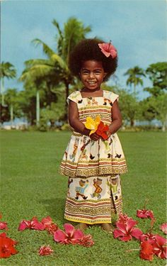 Beautiful little Fijian girl (photo from the 1970s) ~ just love her smile <3