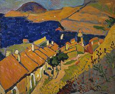 Andre Derain, Collioure, the Village and the Ocean, oil  http://paintwatercolorcreate.blogspot.com/2013/08/wild-beast-on-beach-in-forest.html