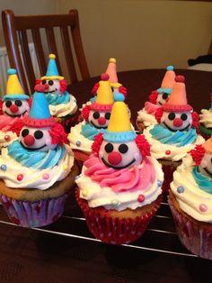 Multicoloured clown cupcakes