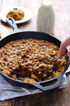 Super Easy Sweet Potato Casserole with Pecan Crumble. More specifically, Buttery Brown Sugar Pecan Crumble. sooo good. | pinchofyum.com