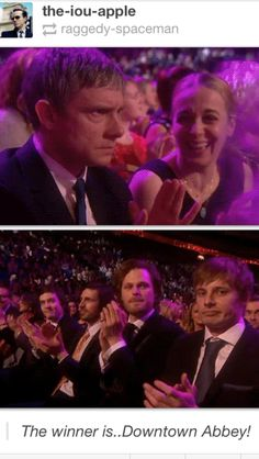 Exactly how we were all feeling. Dont get me wrong, Downton totally deserved it, but I DO like Doctor Who, Sherlock, and Merlin better.