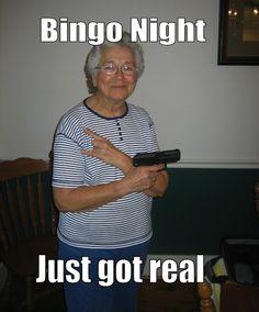 "BINGO is the best. Maybe I need to make sure I'm ""packing"" when i go play bingo haha. Lol, Haha Funny, Funny Stuff, Funny Things, Random Stuff, Funny People, That's Hilarious, Random Humor, Pranks"