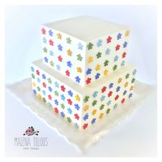 Fondant Square Cake with sugar flowers