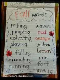 Fall words anchor chart and bulletin board idea