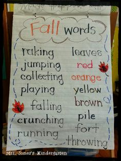 Fall words anchor chart and bulletin board idea
