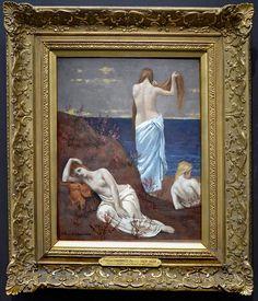 Moças à beira-mar (1887) Pierre Puvis de Chavannes - Museu d'Orsay Pierre Puvis de Chavannes (1824-1898) foi um dos artistas mais marcantes do final do século XIX na Europa e até nos Estados Unidos, por suas invenções no campo da composição, de formas e de pintura de monumental. Moças à beira-mar não parece na sua estética, e na forma como o tema é abordado, nem à arte chamada de acadêmica, nem ao impressionismo. A simplicidade da composição, o desenho esquematisado das silhuetas , a gama c