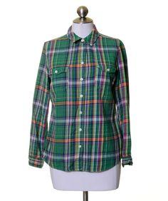 Old Navy Green Blue Purple White Plaid Light Twill Flannel Button Shirt Size M #OldNavy #ButtonDownShirt #Casual