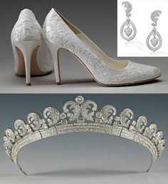 Shoes, earrings and tiara worn by the Duchess of Cambridge on her wedding day